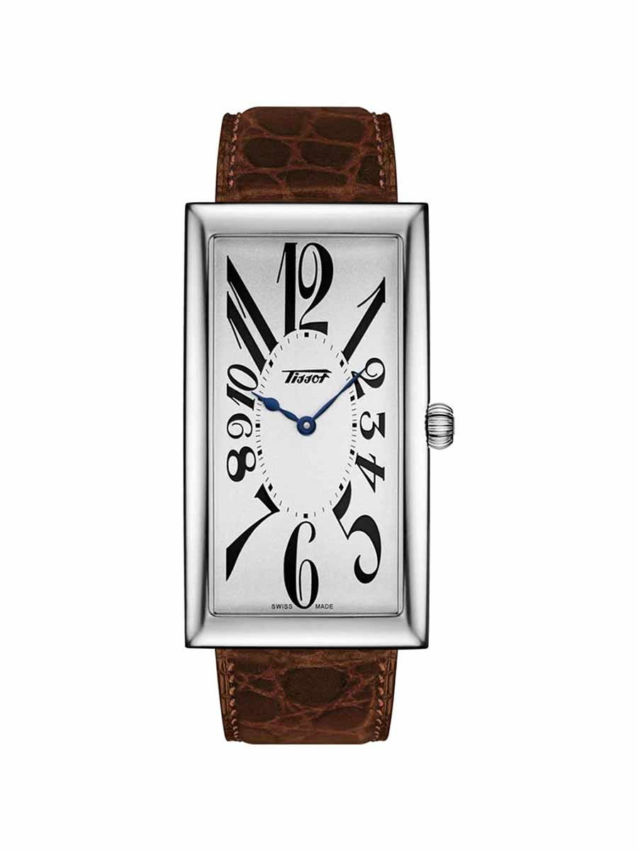 Heritage Banana Century Edition gents watch silver dial with brown leather strap