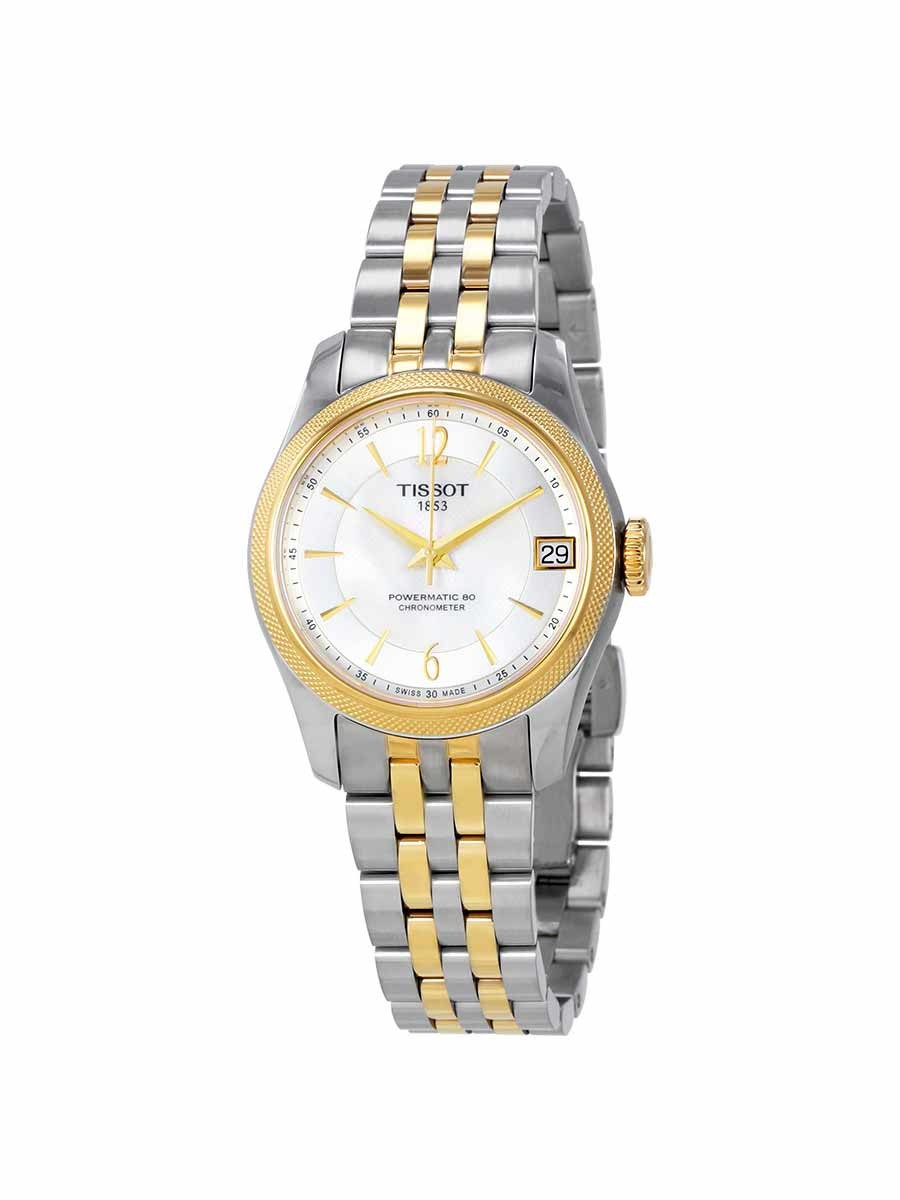 Ballade Powermatic 80 COSC Lady watch white mother of pearl dial with yellow gold & grey bracelet