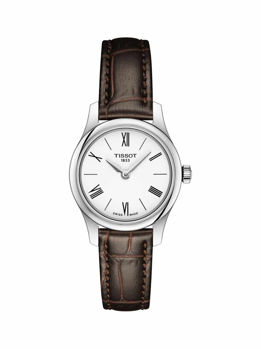 Tradition 5.5 Thin Lady watch white dial with brown leather strap
