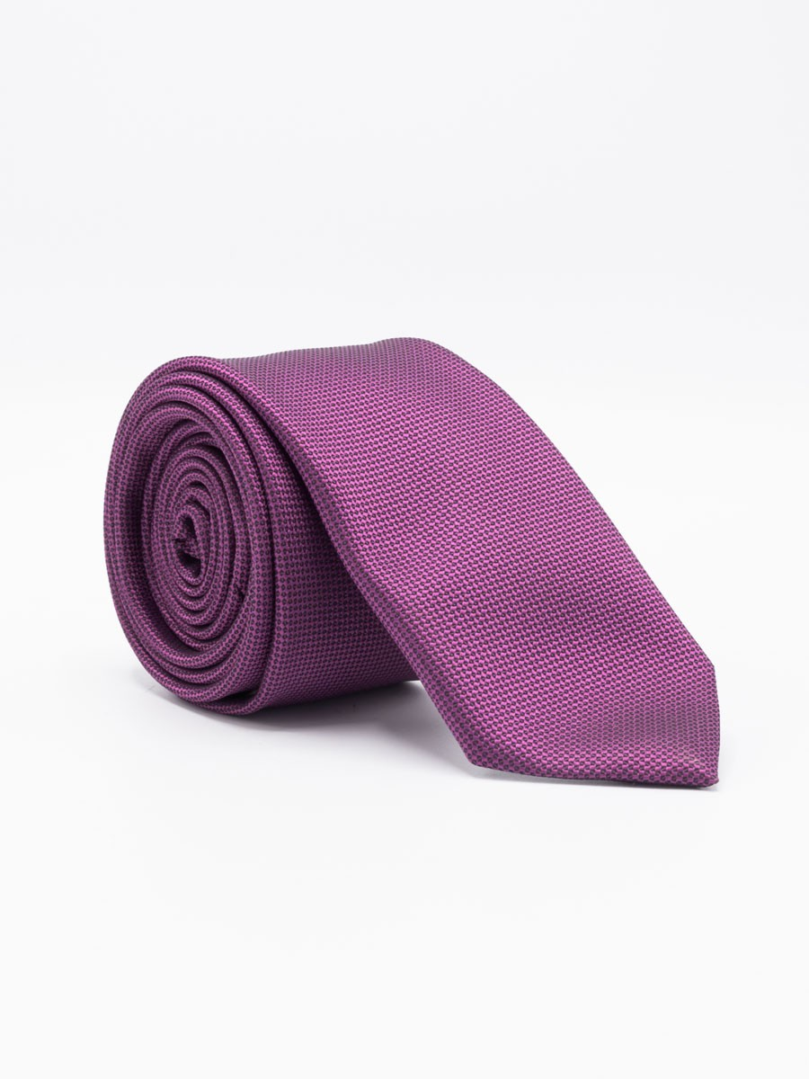 purple Plain Slim Microfibre Polyester Tie