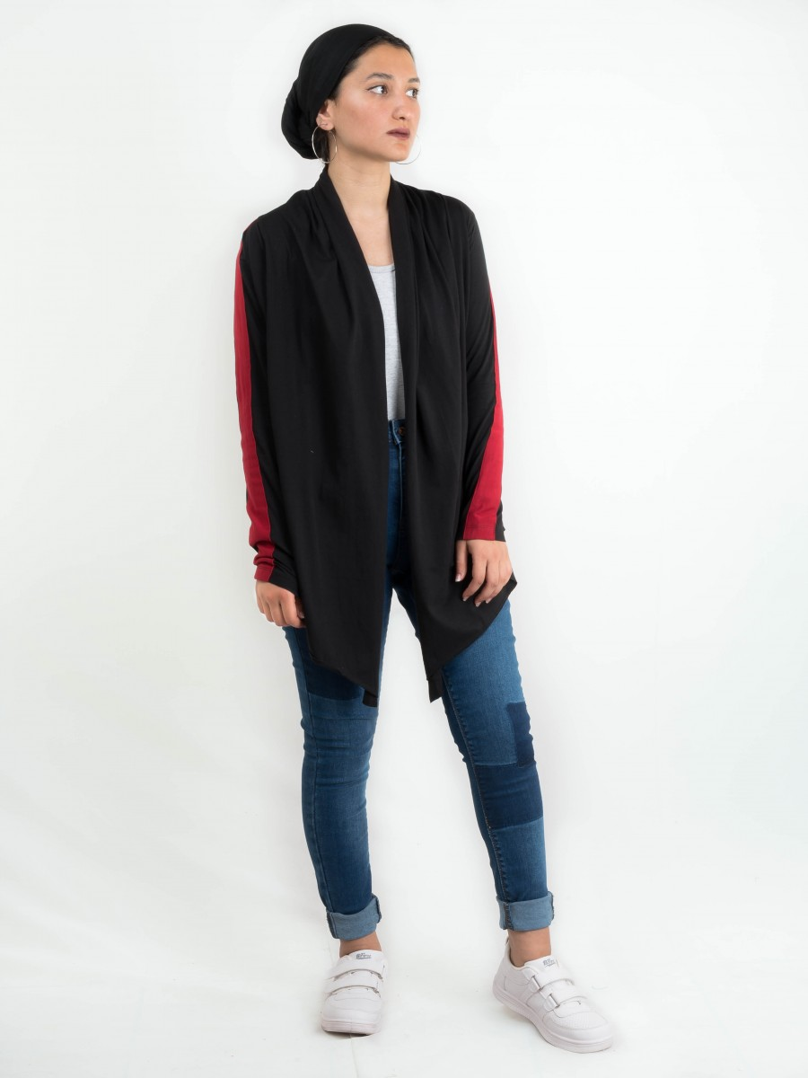 JERSEY CARDIGAN WITH STRIPES