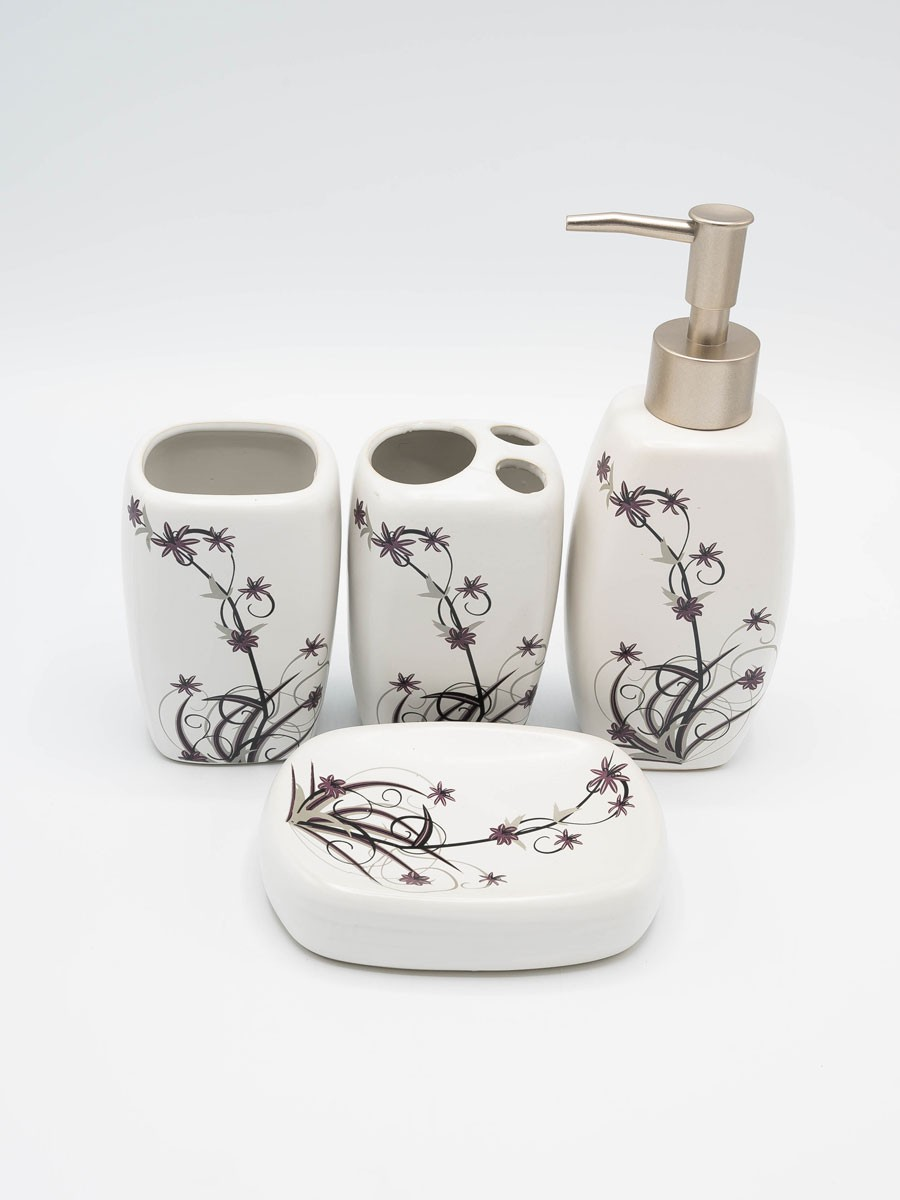 Bathroom Set MultiColor Flower Design 4Pcs Set