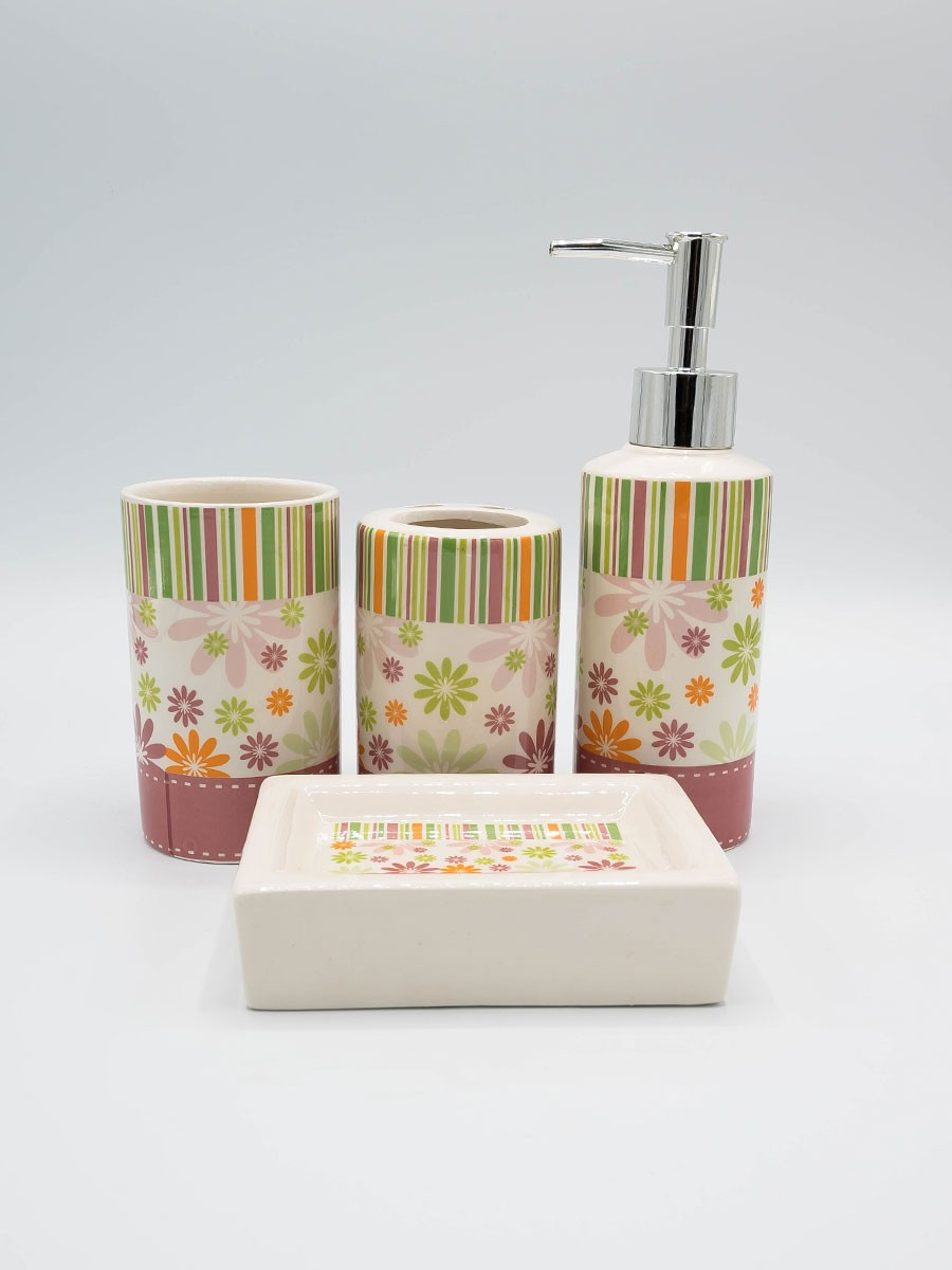 Bathroom Set Flowers Design 4Pcs Set
