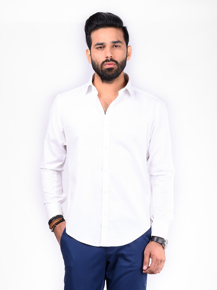 REGULAR FIT SHIRT DT WHITE SELF