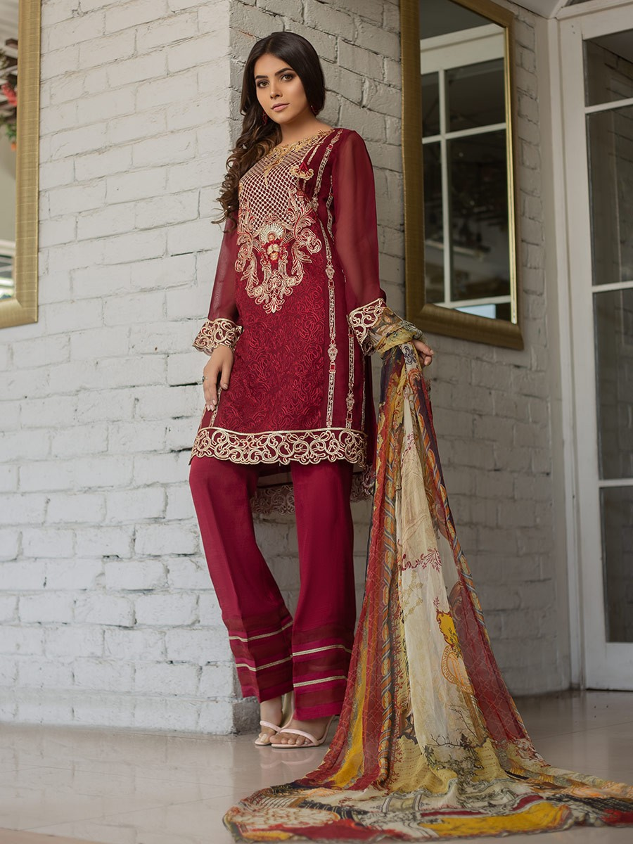 CHIFFON EMBROIDERED SUIT