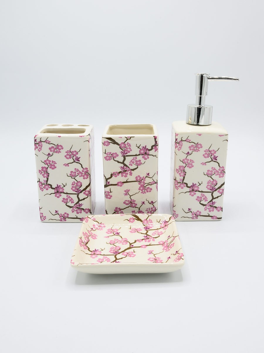 Bathroom Set Pink Flowers Design 4Pcs Set