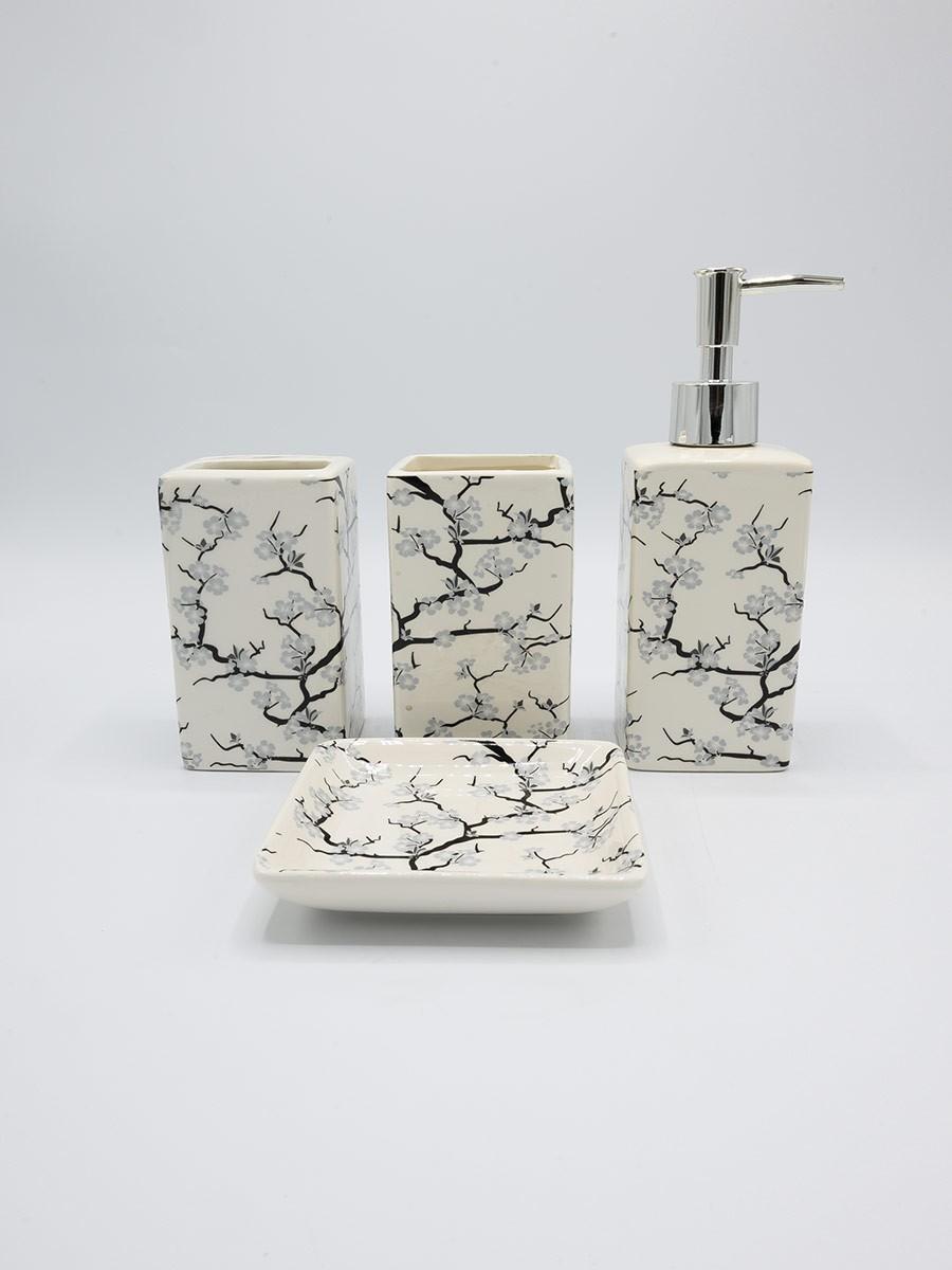 Bathroom Set Flowers Design Fancy 4Pcs Set
