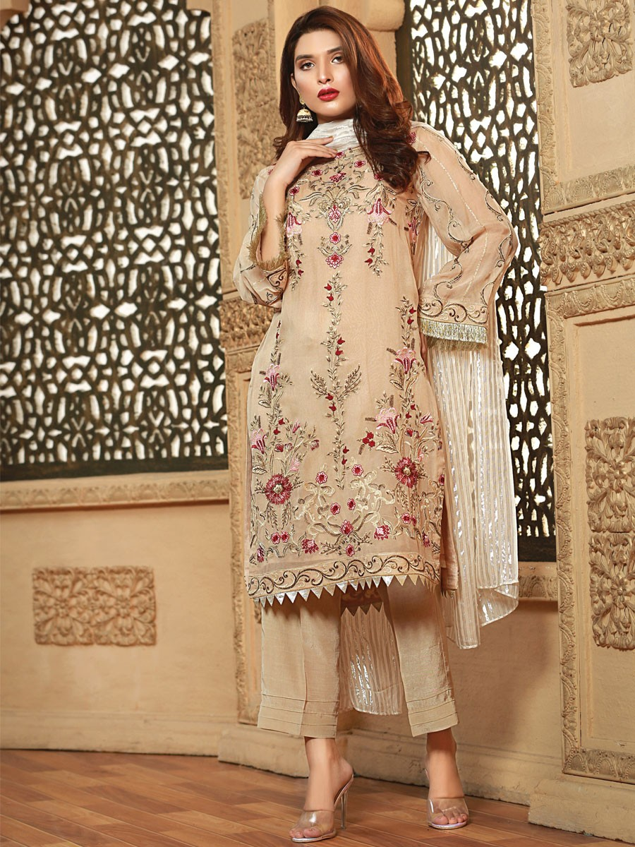 3d619a01695 BEIGE EMBROIDERED CHIFFON SUIT