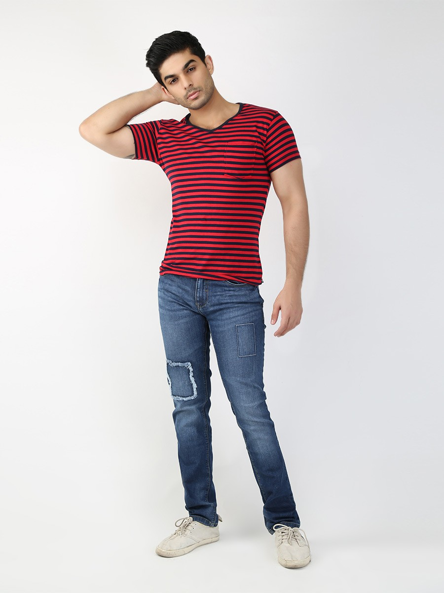 Navy & Pink Striped Round Neck T-shirt