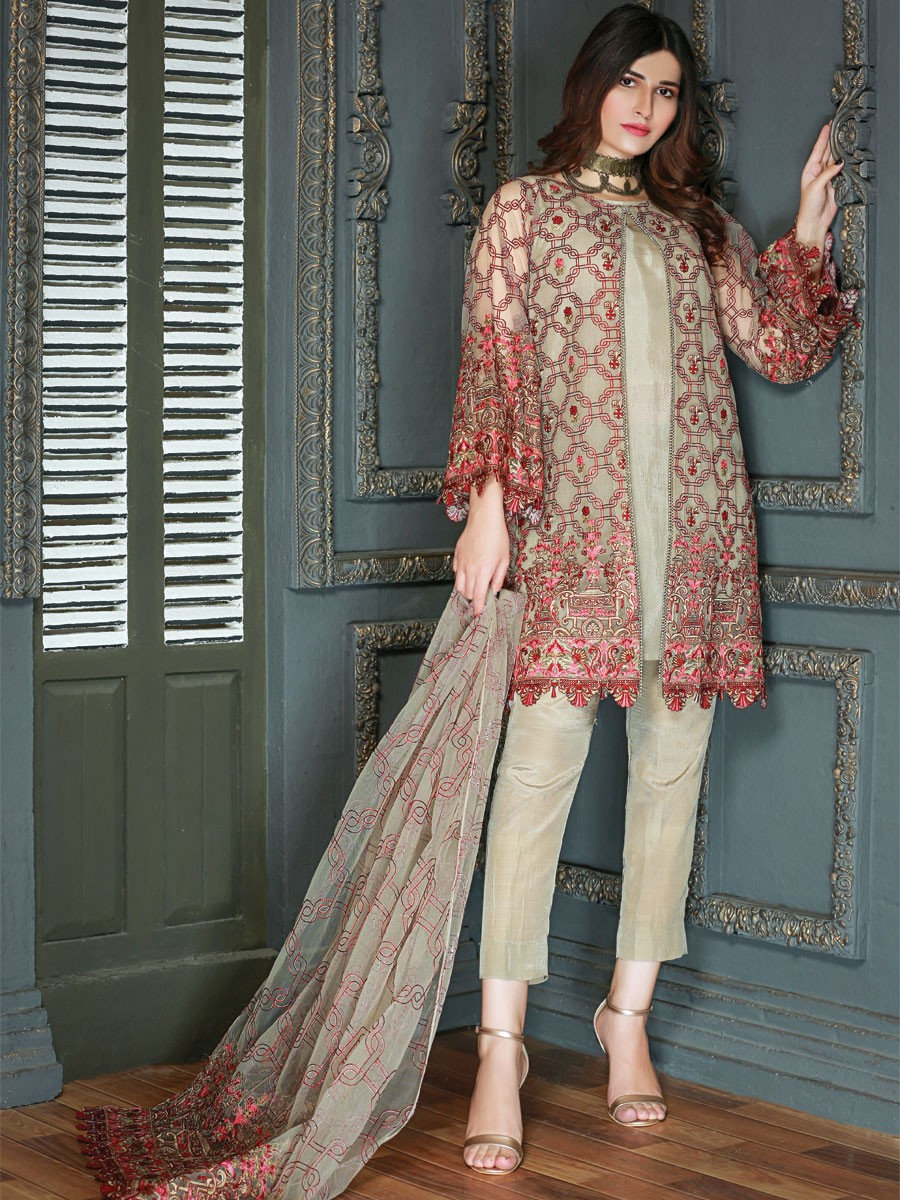 Beige Embroidered Net Gown Suit