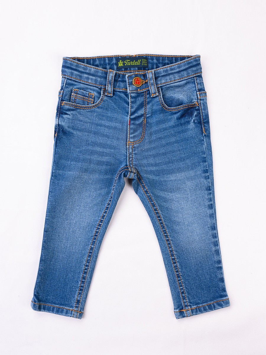 Blue Washed Stretch Slim Fit Jeans