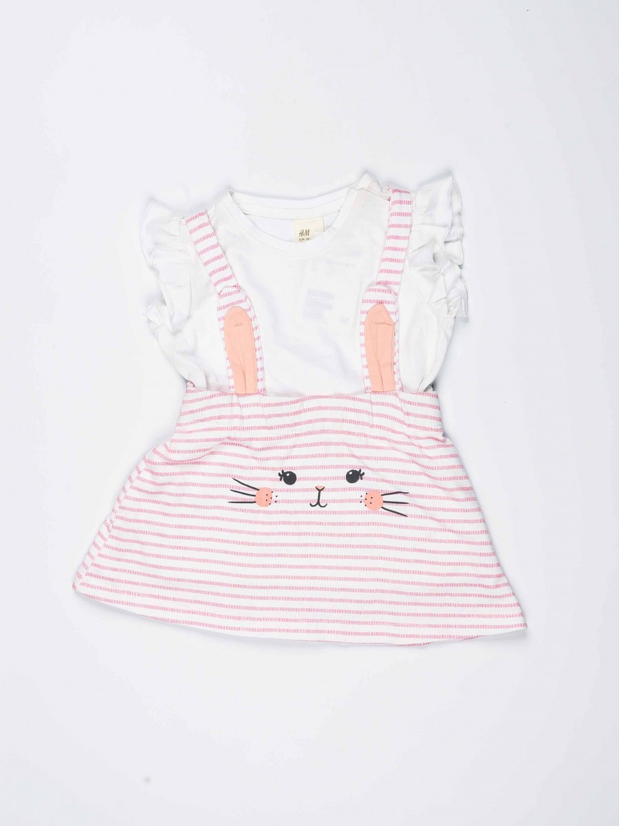 White & Pink Striped Baby Girl 2 Piece Frock