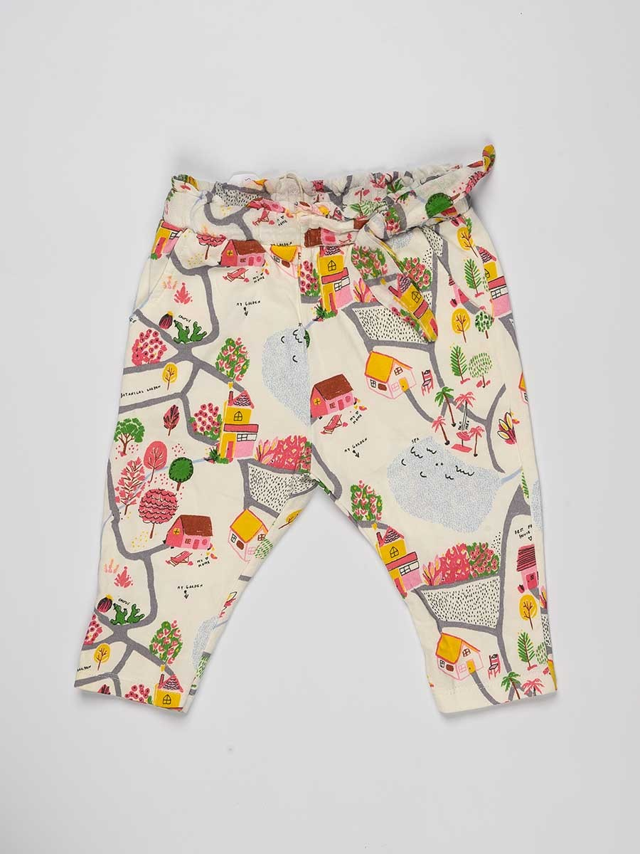White Floral Printed Baby Girl Trouser
