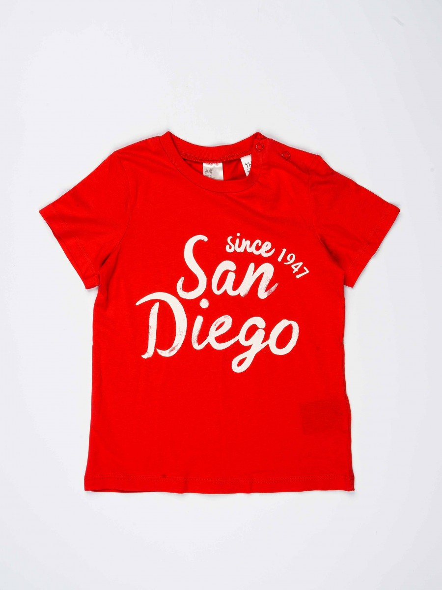 Red Printed Round Neck Baby Boy T-Shirt