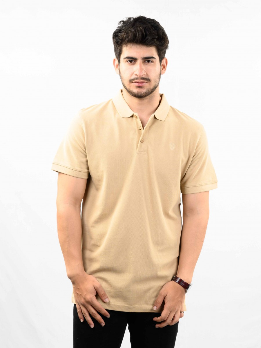 Beige Solid Cotton Slim Fit Polo Collar T-Shirt