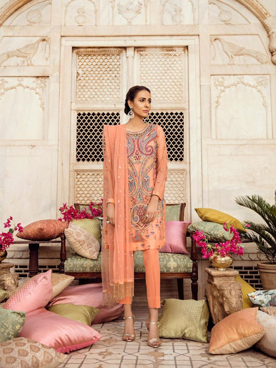 Vasl-e-Meeraas Embroidered Silk Organza 3 Pcs Unstitched Suit
