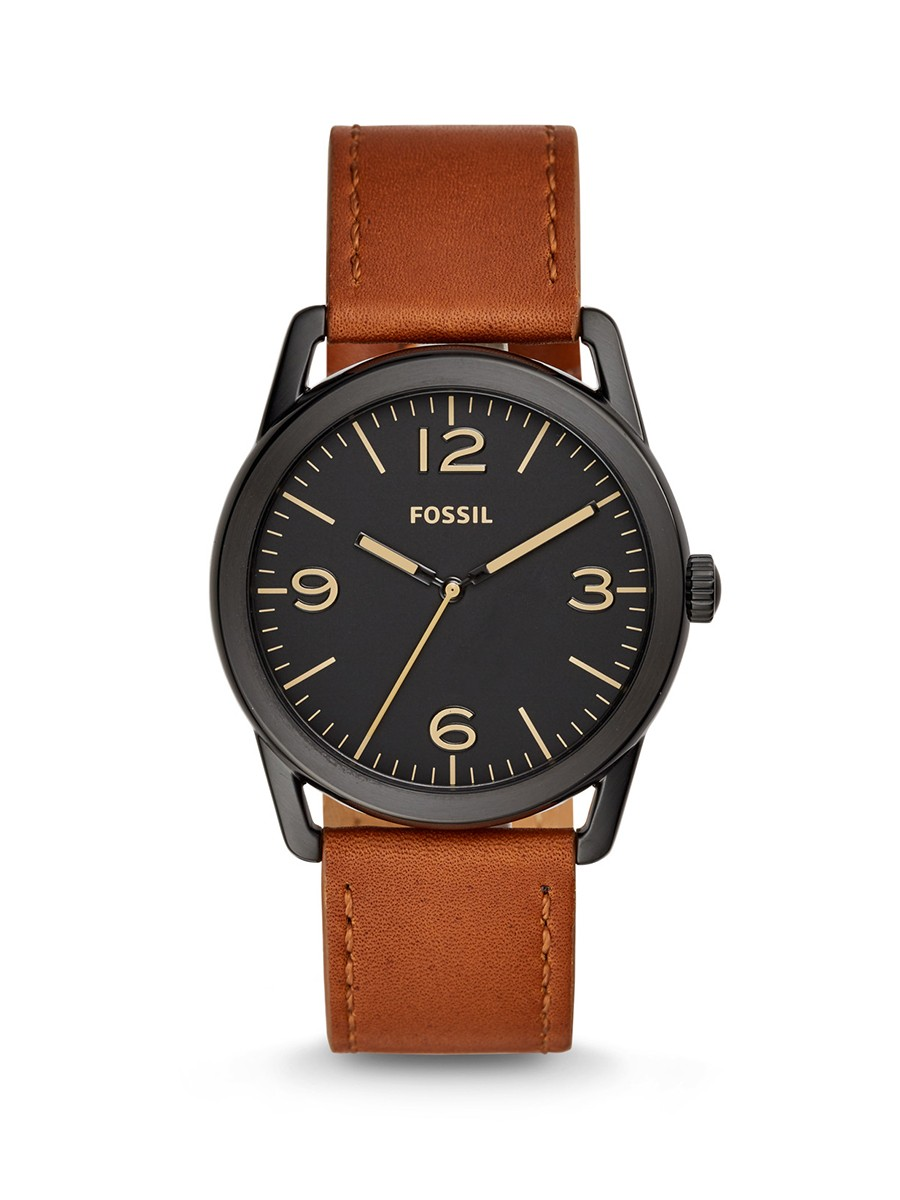 Fossil Ledger Three-Hand Brown Leather Men Watch