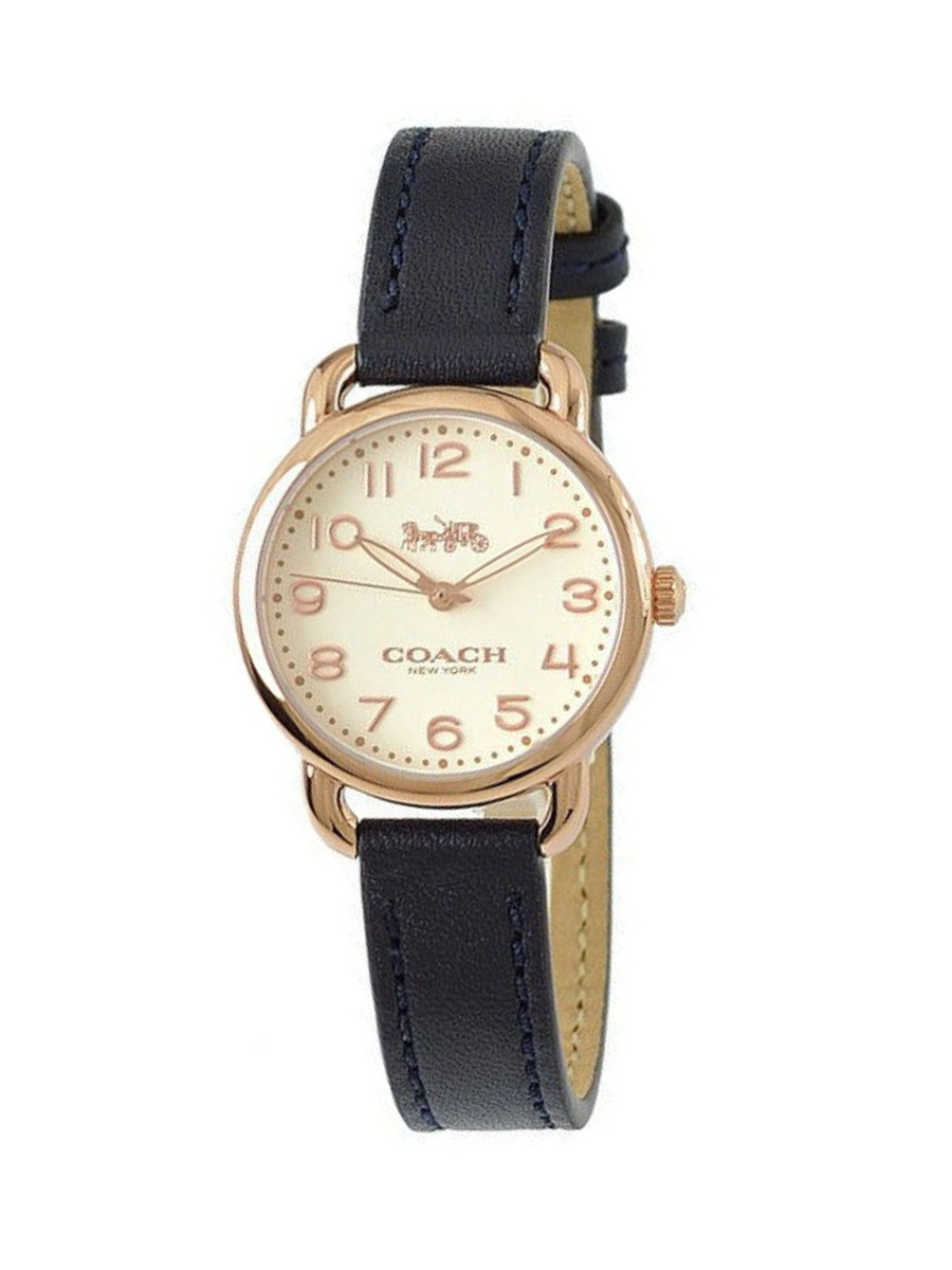 COACH WOMEN'S DELANCEY GOLD TONE METALLIC BLUE LEATHER WATCH