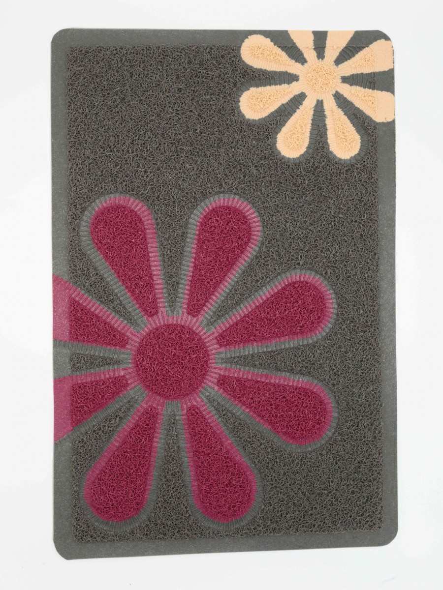 Grass Mat Grey Flowers Design