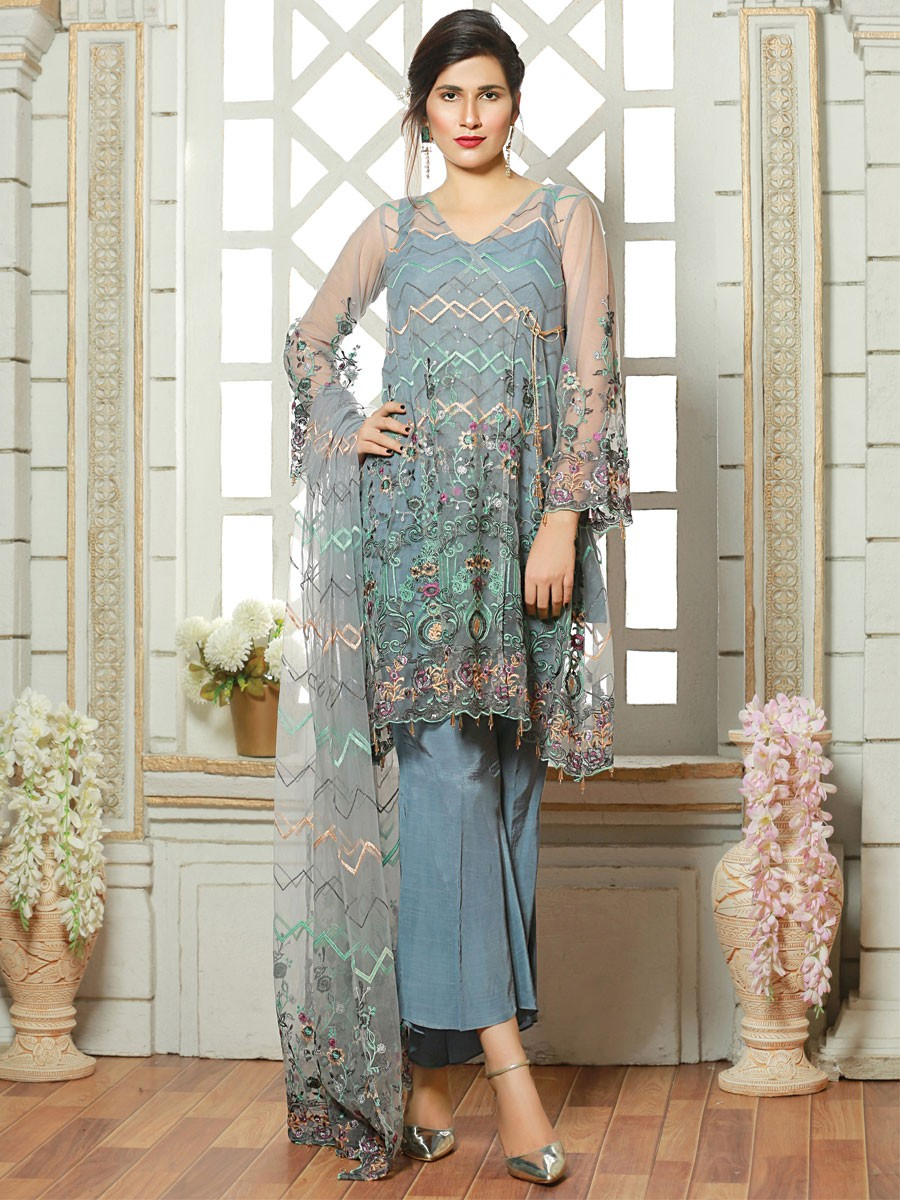 Mint Blue Embroidered Net 3 Piece Suit