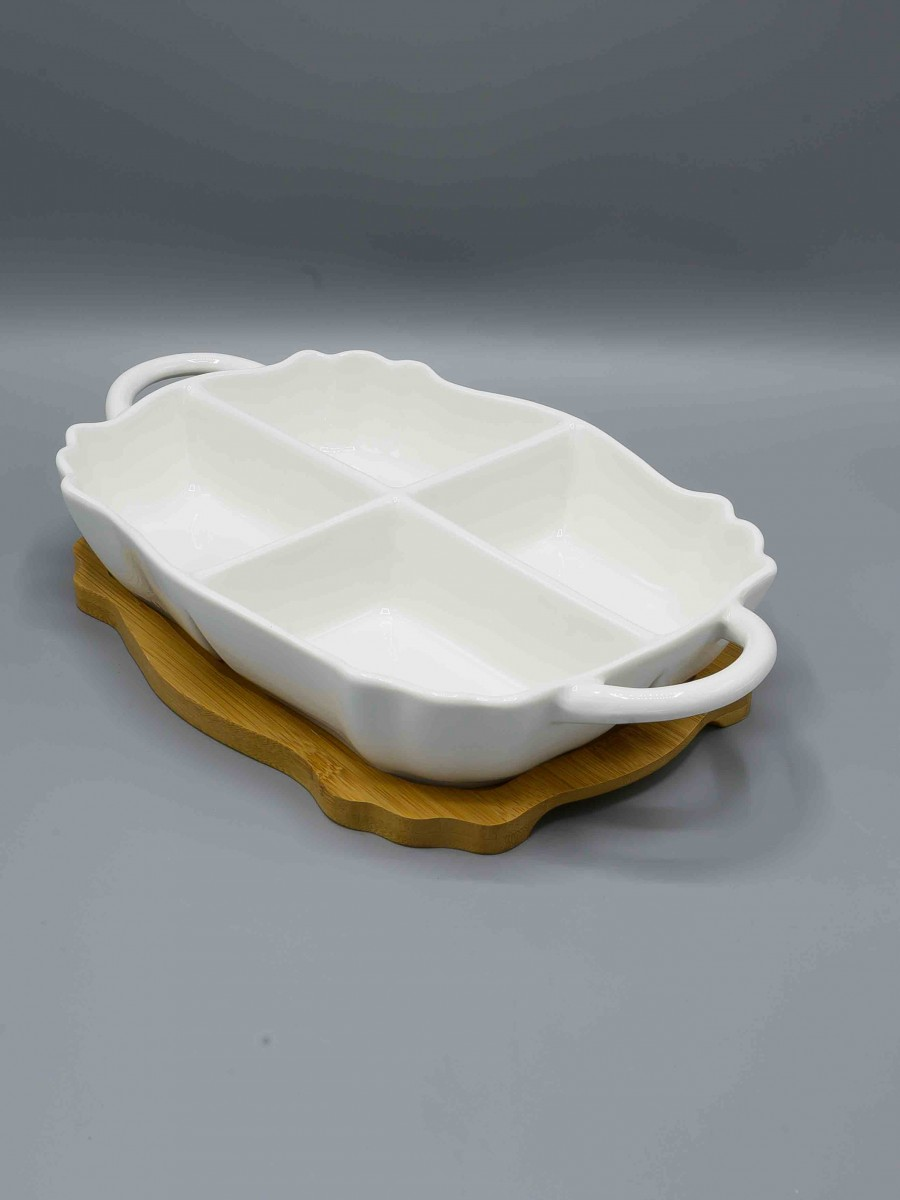 4 Section Dish with Holder