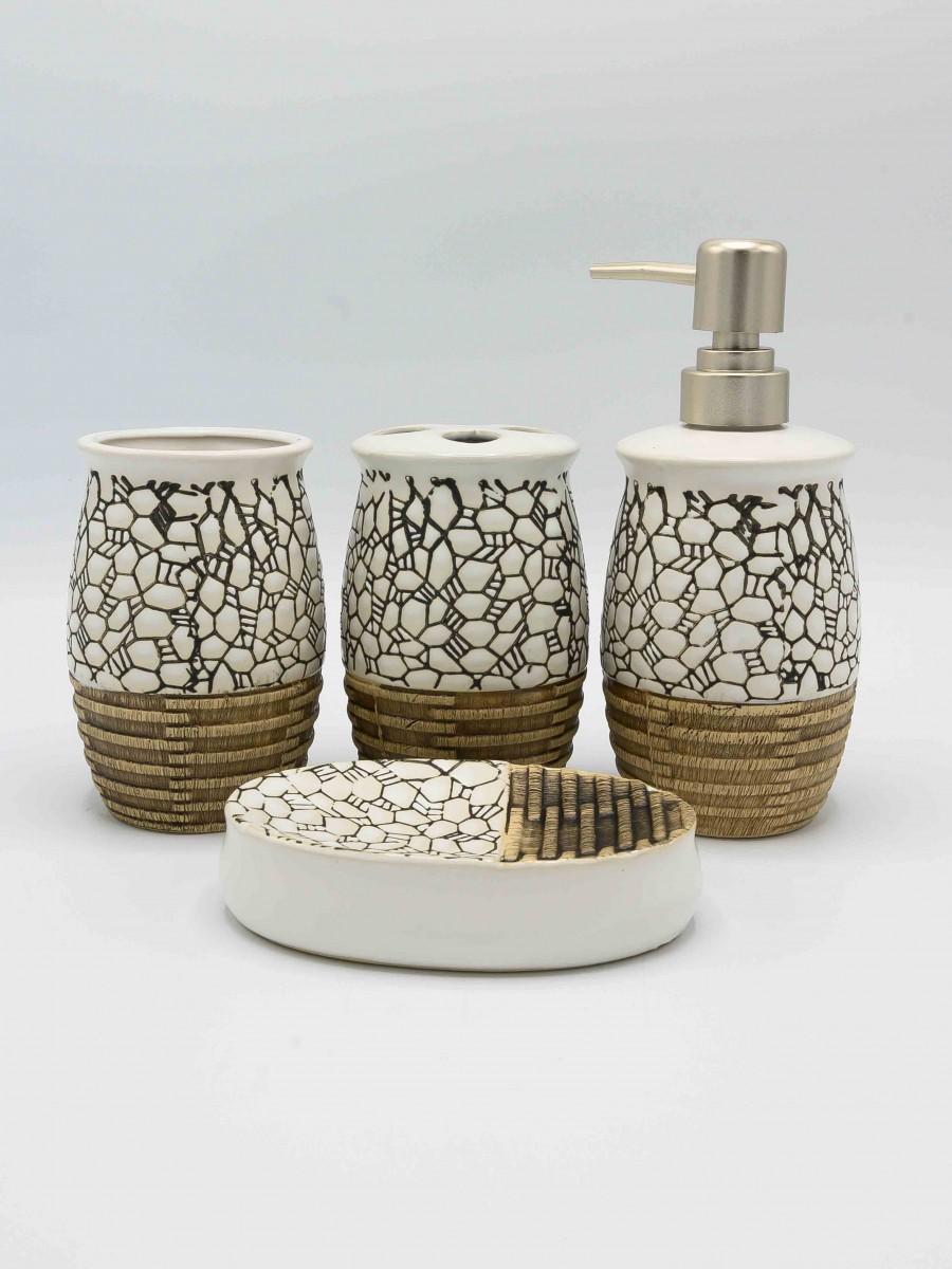 Bathroom Set MultiColor Fancy Design 4Pcs Set