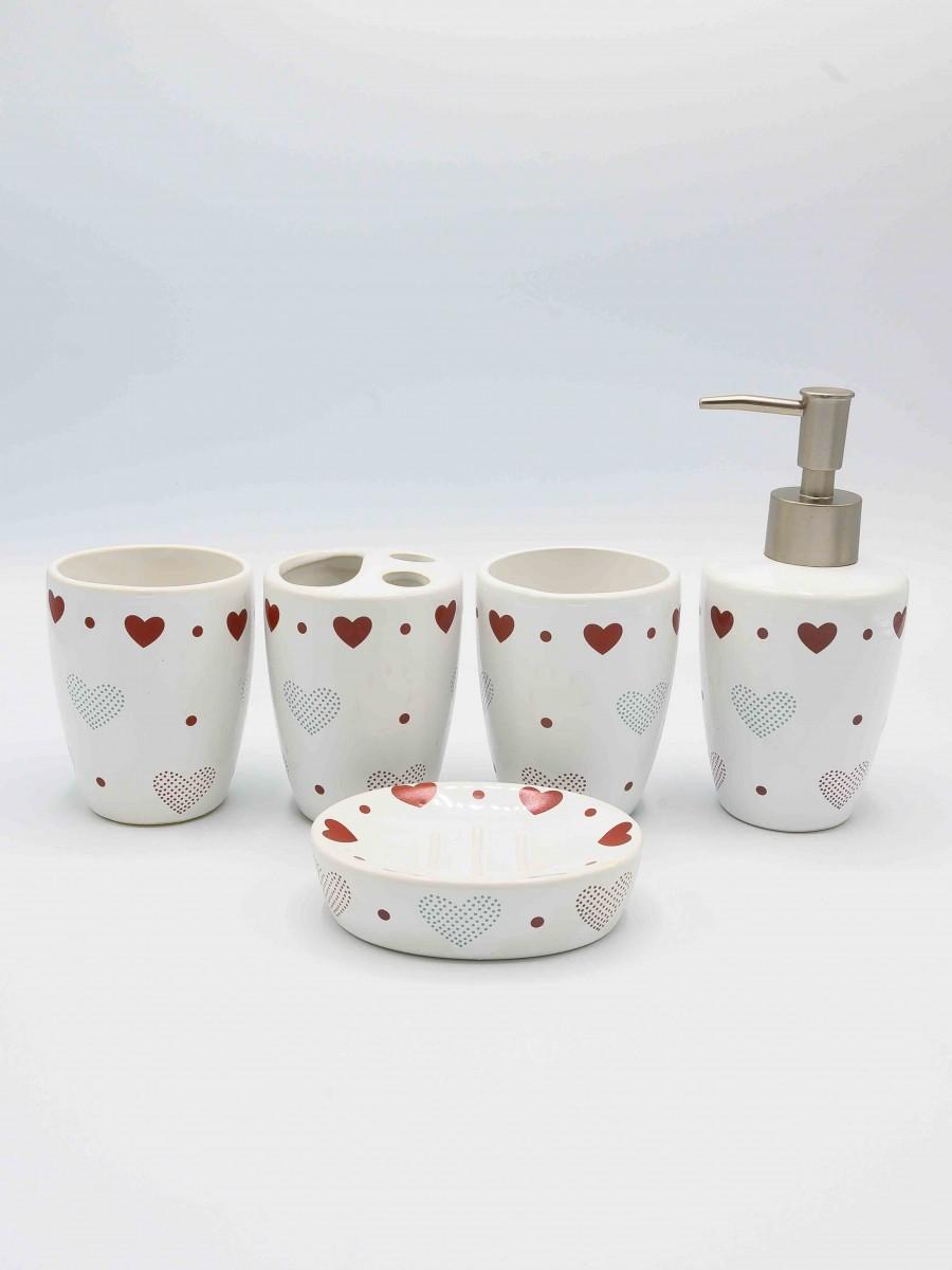 Bathroom Set Red Heart Design White Color Fancy 5Pcs Set