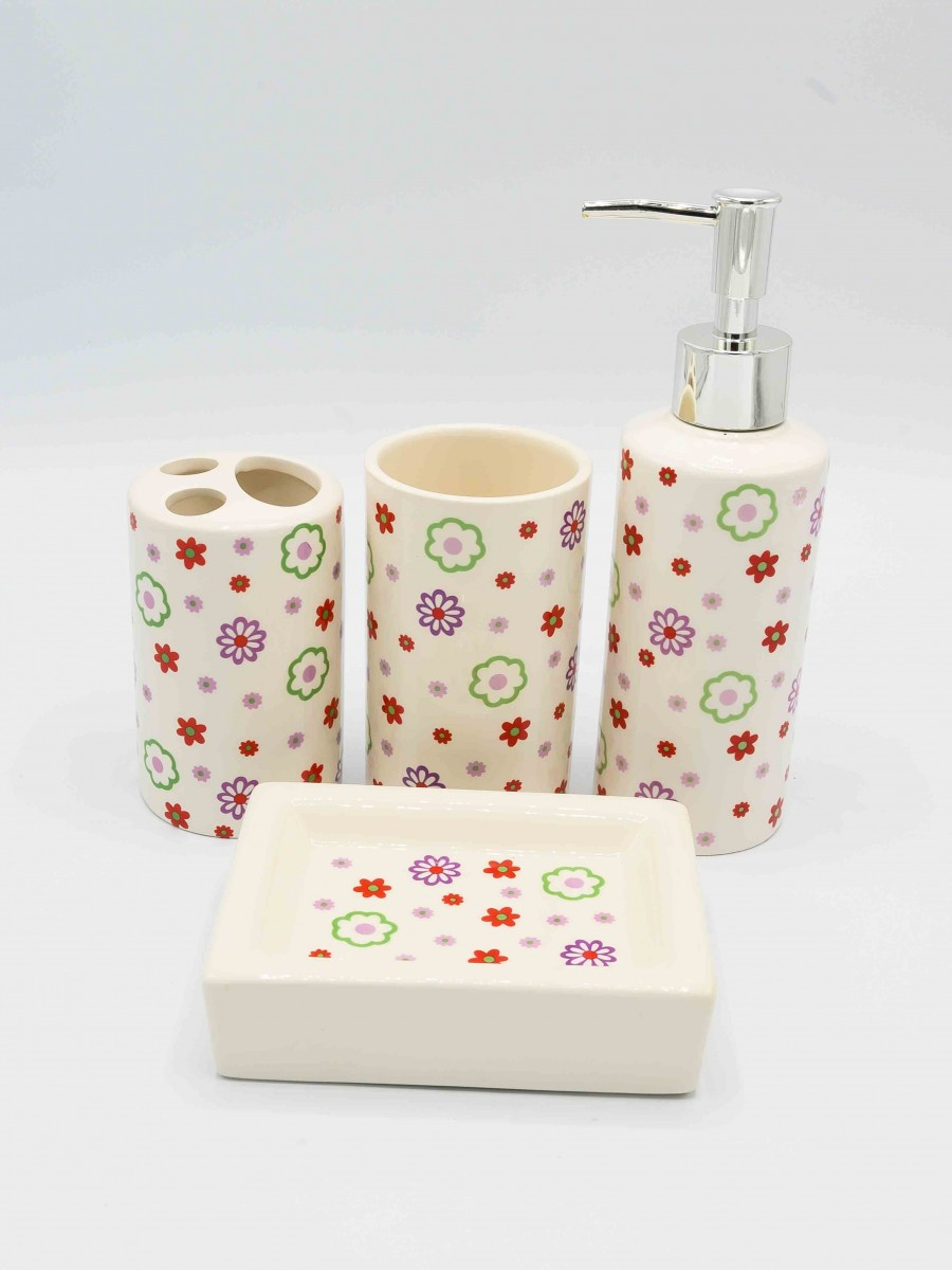 Bathroom Set Multicolor Fancy Flower Design 4Pcs Set