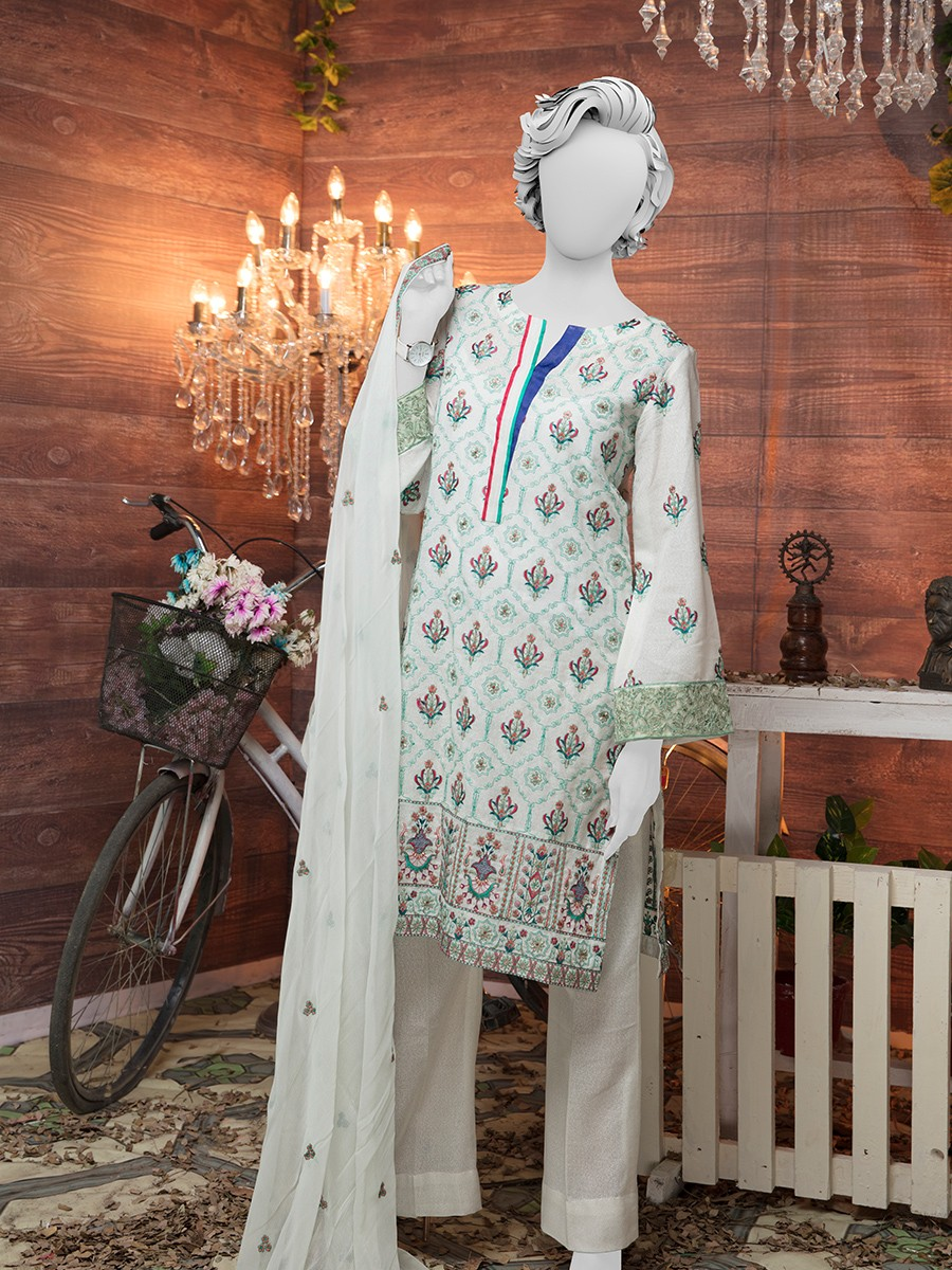 White Embroidered Unstitched 3 Piece Suit