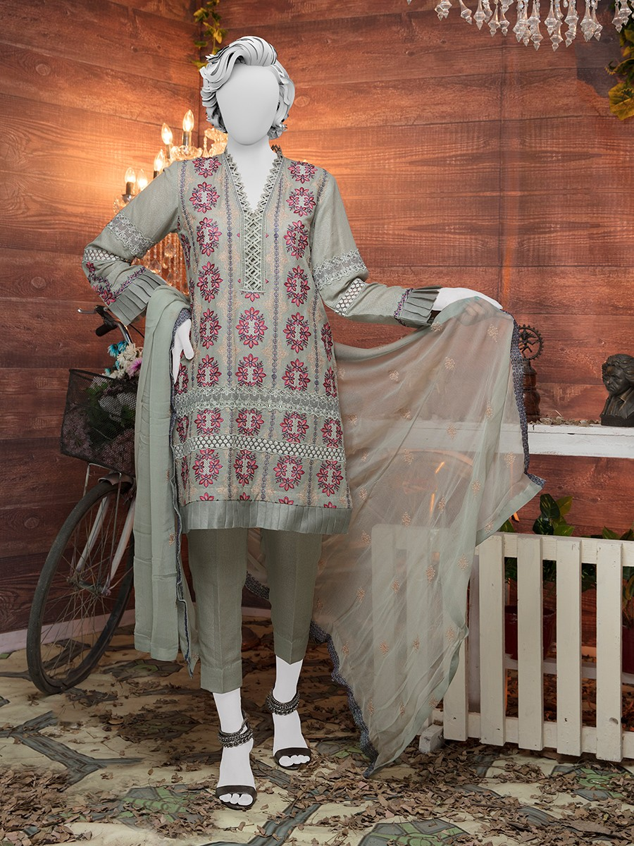 Multi colored Embroidered Lawn karandi 3 Piece Suit