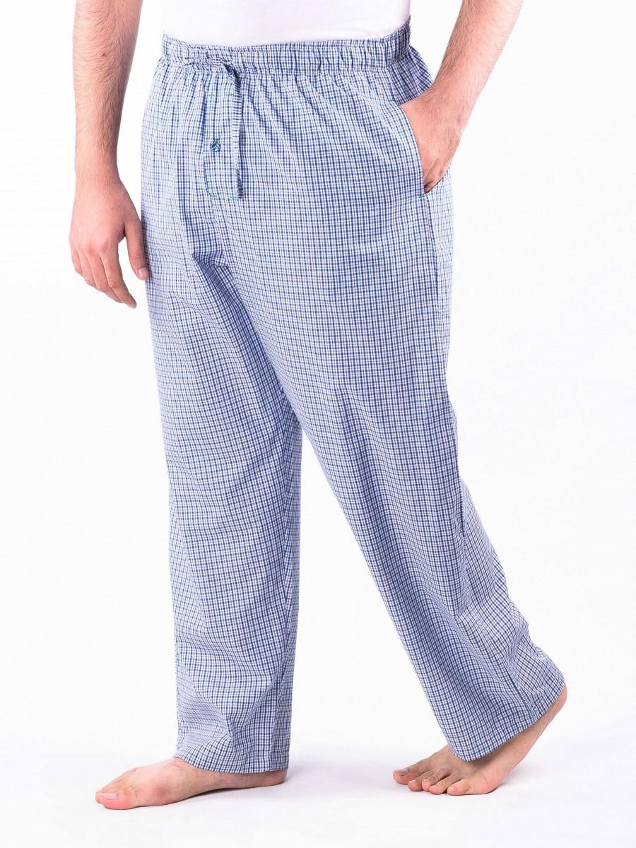 Light Blue and White Check Cotton Baggy Pajamas