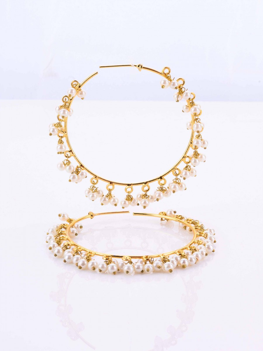 Golden Pearl Hoops