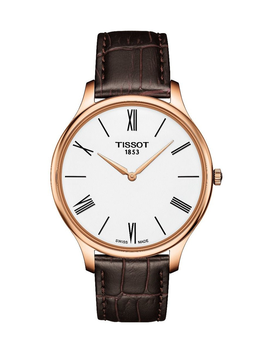 Tradition Quartz White Dial Brown Leather Strap Men's Watch