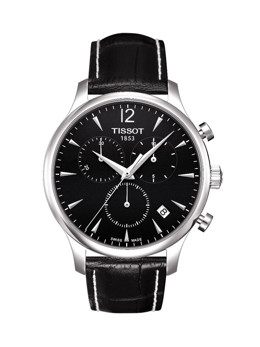 Tradition Chronograph Black Dial Black Leather Strap Men's Watch