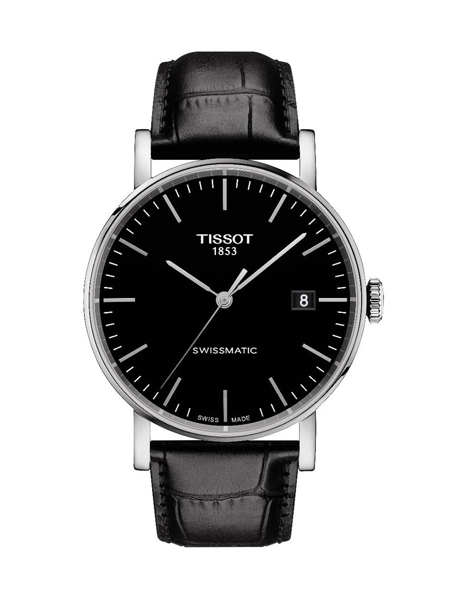 Everytime Swissmatic Black Dial Black Leather Strap Men's Watch