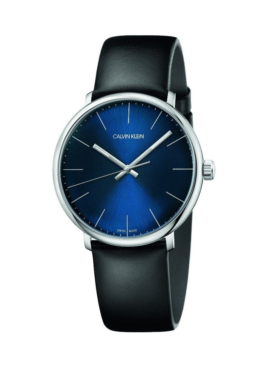 High Noon Quartz Blue Dial Black Leather Strap Men'S Watch