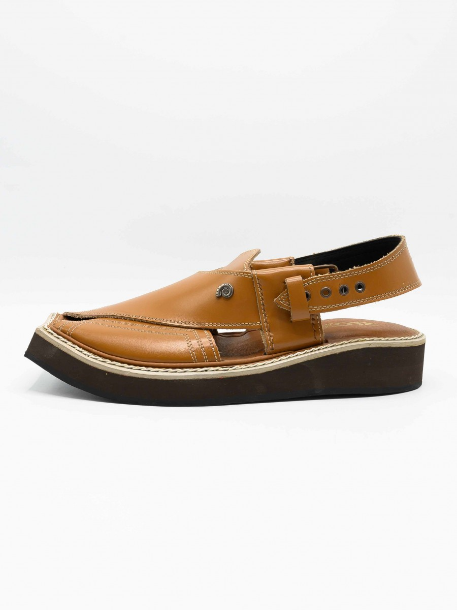 Kaptaan Brown Men's Peshawari Chappal