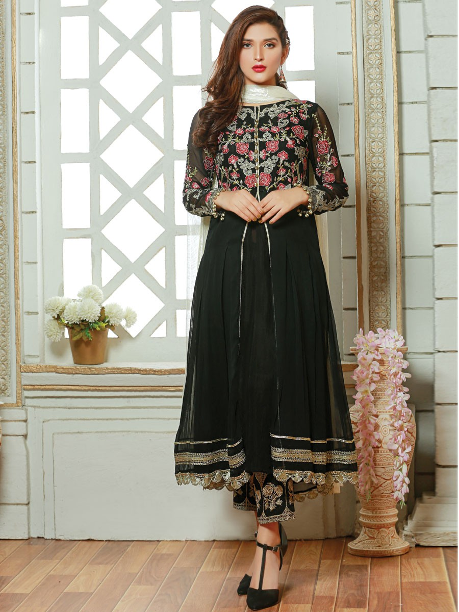 Black Embroidered Chiffon 3 Piece Suit