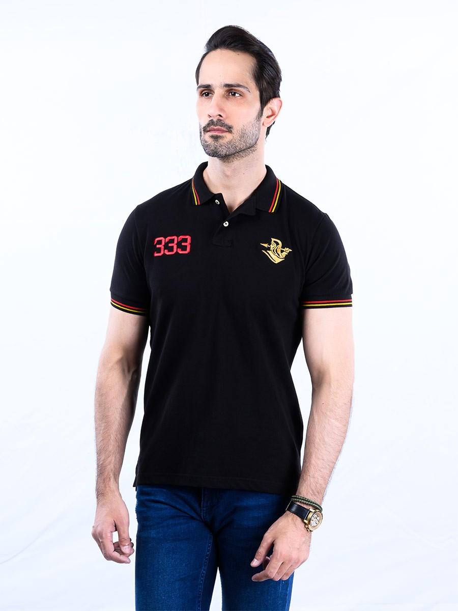 Spartans Polo Shirt Triple Three  Black