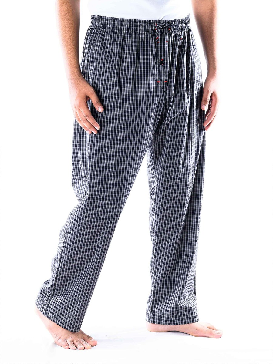 Black and White Check Stretch Cotton Relaxed Pajamas