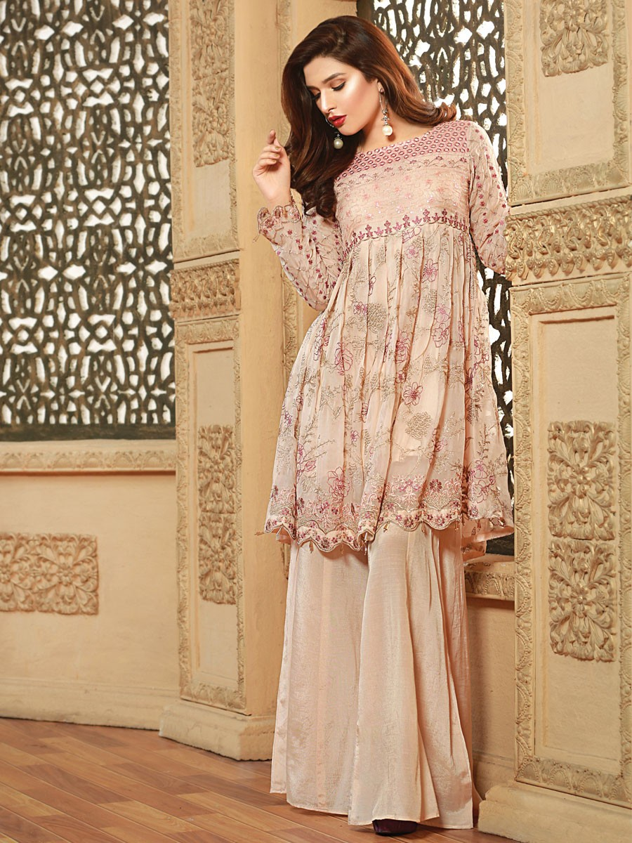 Peach Embroidered Chiffon 2 Piece Suit