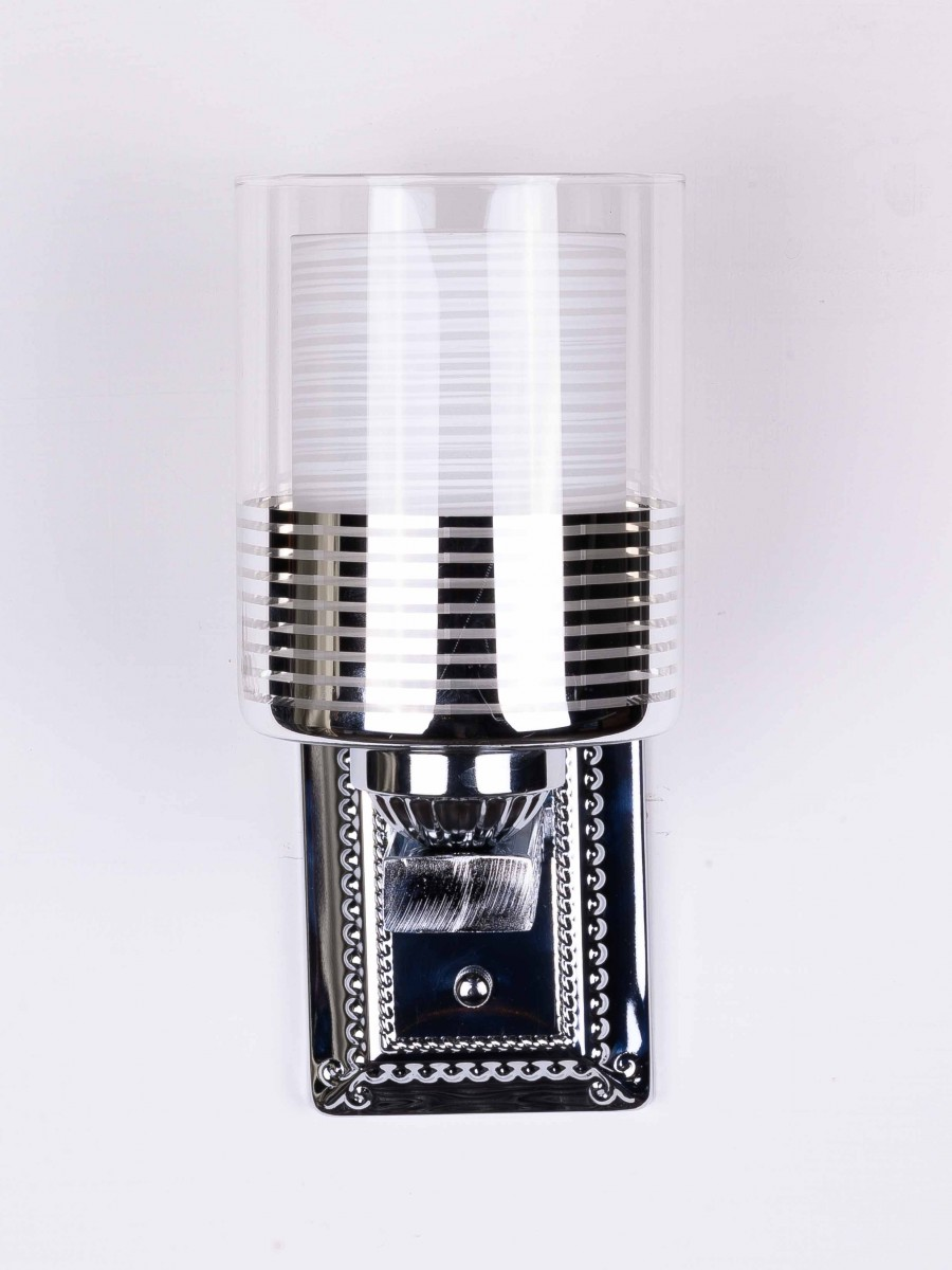 METAL BASE WITH SILVER STRIPES AND WHITE GLASS