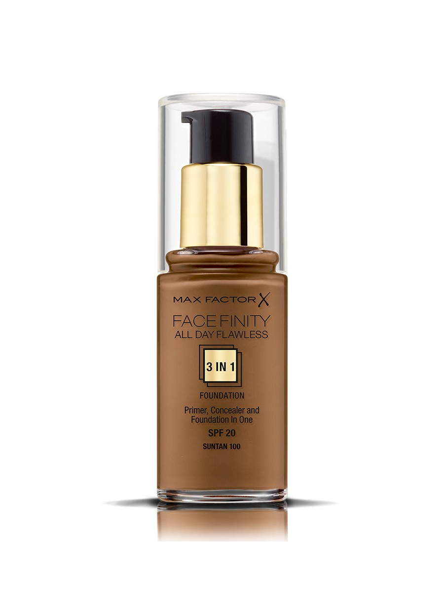 Max Factor Facefinity All Day Flawless, Liquid Foundation, 3 in 1, 100 Sun Tan, 30 ml