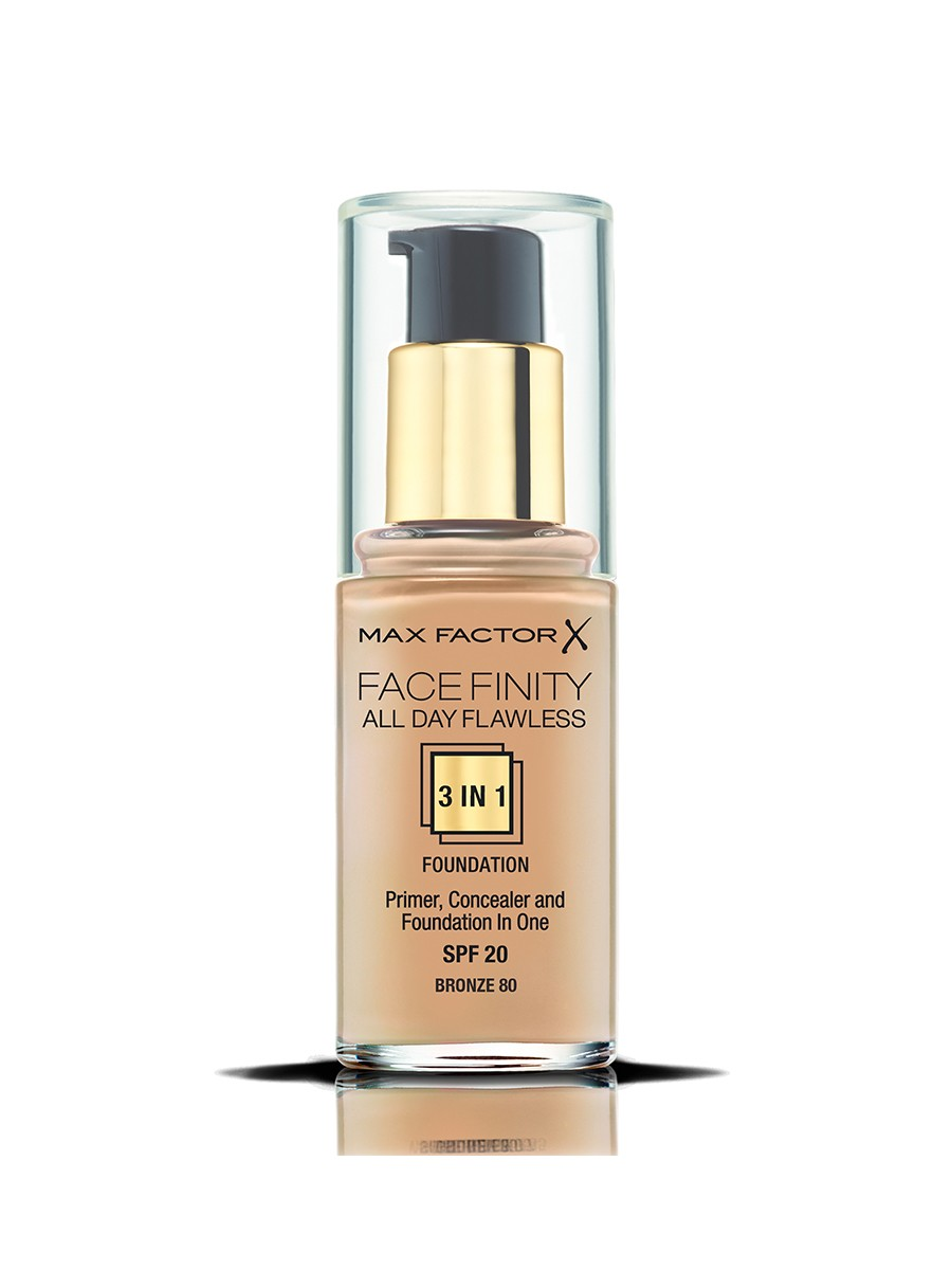 Max Factor Facefinity All Day Flawless, Liquid Foundation, 3in1, 080 Bronze, 30 ml