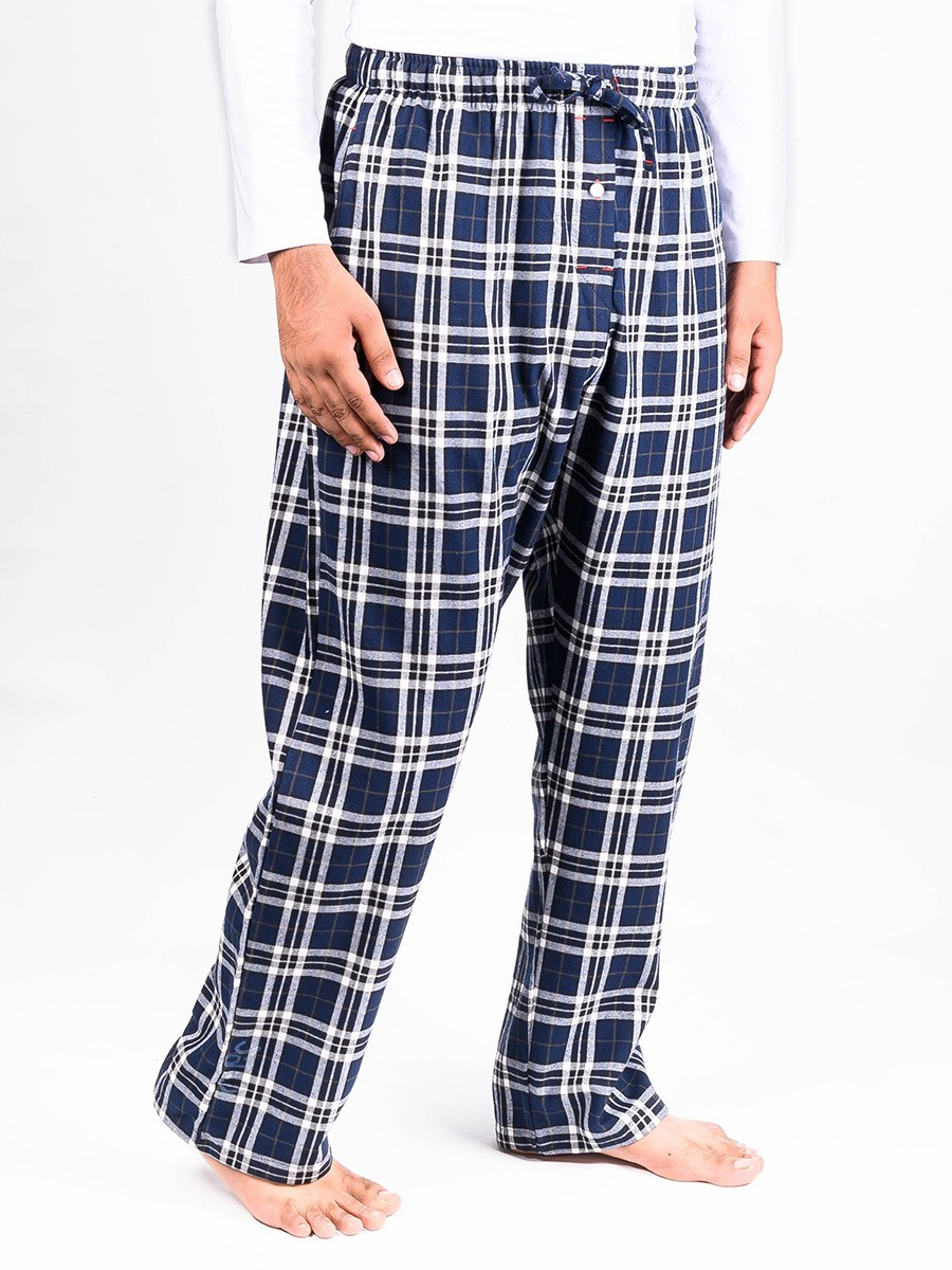 Blue and White Flannel Relaxed fit Pajamas for Winter