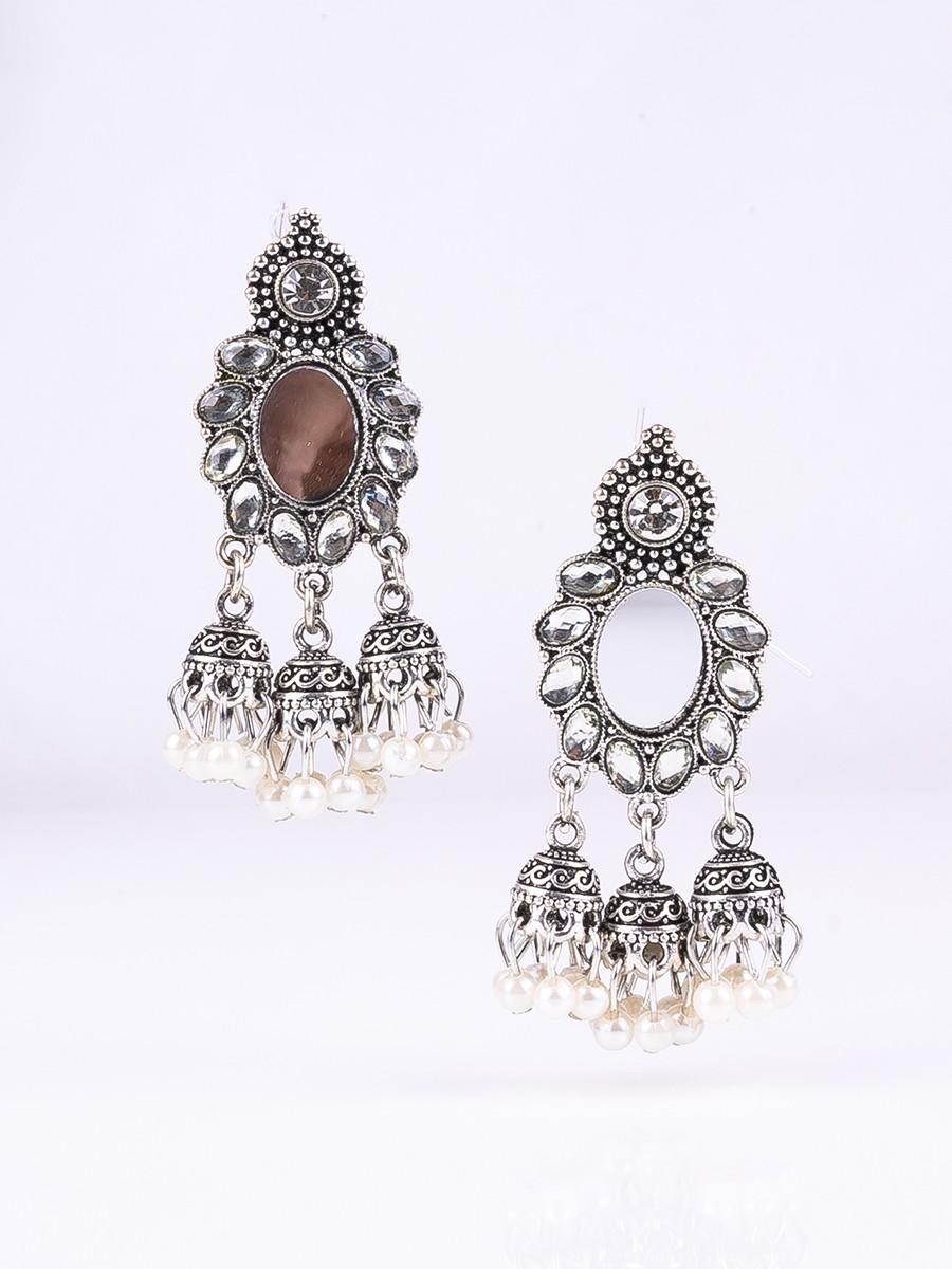 Silver Plated Mirror Jhumki Earrings