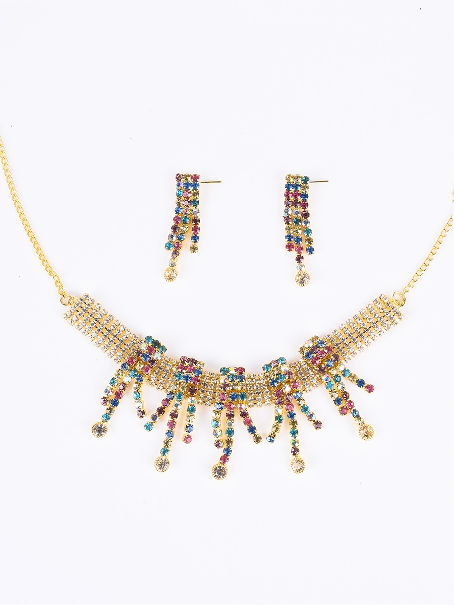 Multicolour Beads Rhodium Plated Necklace Set