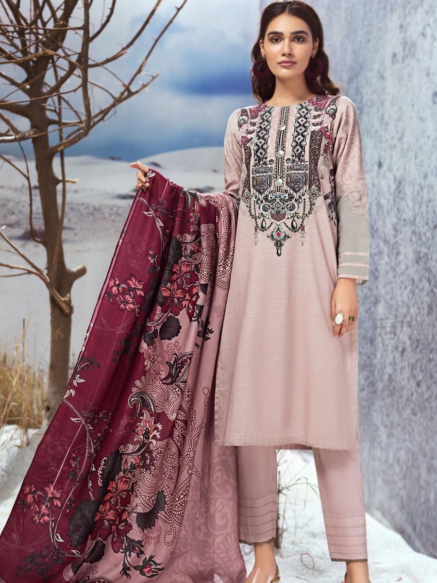 Tea Pink 3 Piece Khaddar Suit