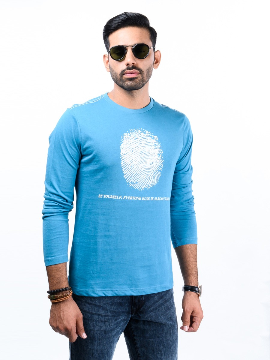 Blue Printed Round Neck T-Shirt