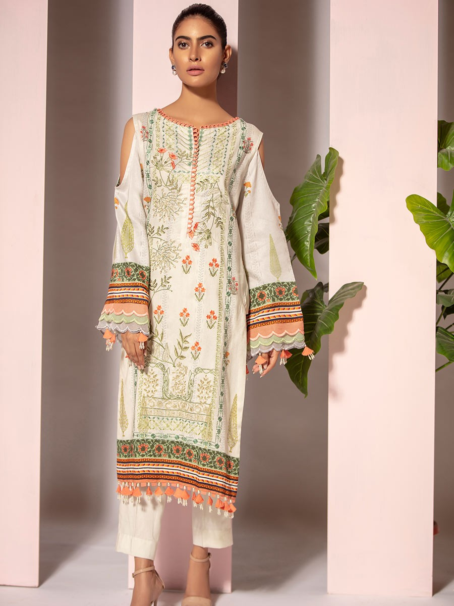 White Digital Printed Embroidered Linen Shirt
